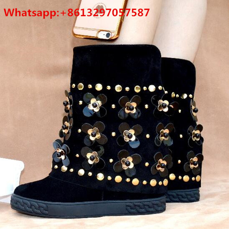 Winter Women Knee High Boots Black Suede Wedges Heel Round Toe Booties Studded Metal Floral Slip On Leather Shoes Woman muffin wedge high heel stretch women extreme fetish casual knee peep toe platform summer black slip on creepers boots shoes