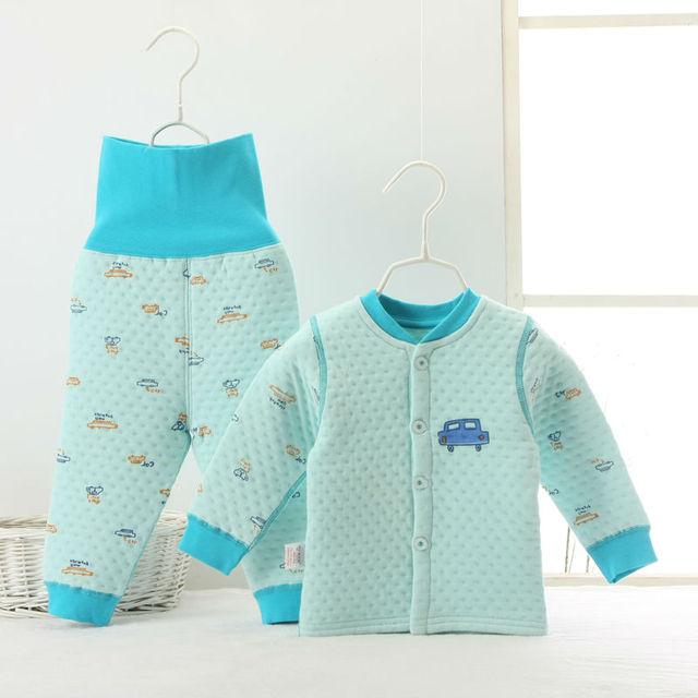 Bebé puntada abierta de cintura alta puede abrir entrepierna Niños gruesa ropa térmica bebé de algodón que arropan la ropa interior Larga manga larga