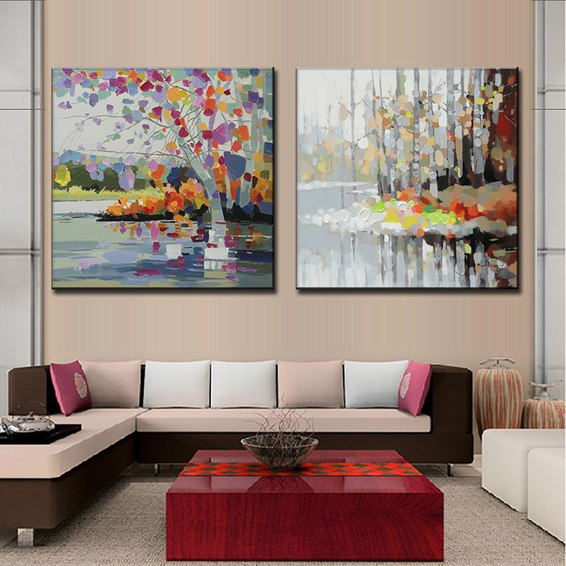 Pcs set abstract landscape oil art painting on canvas