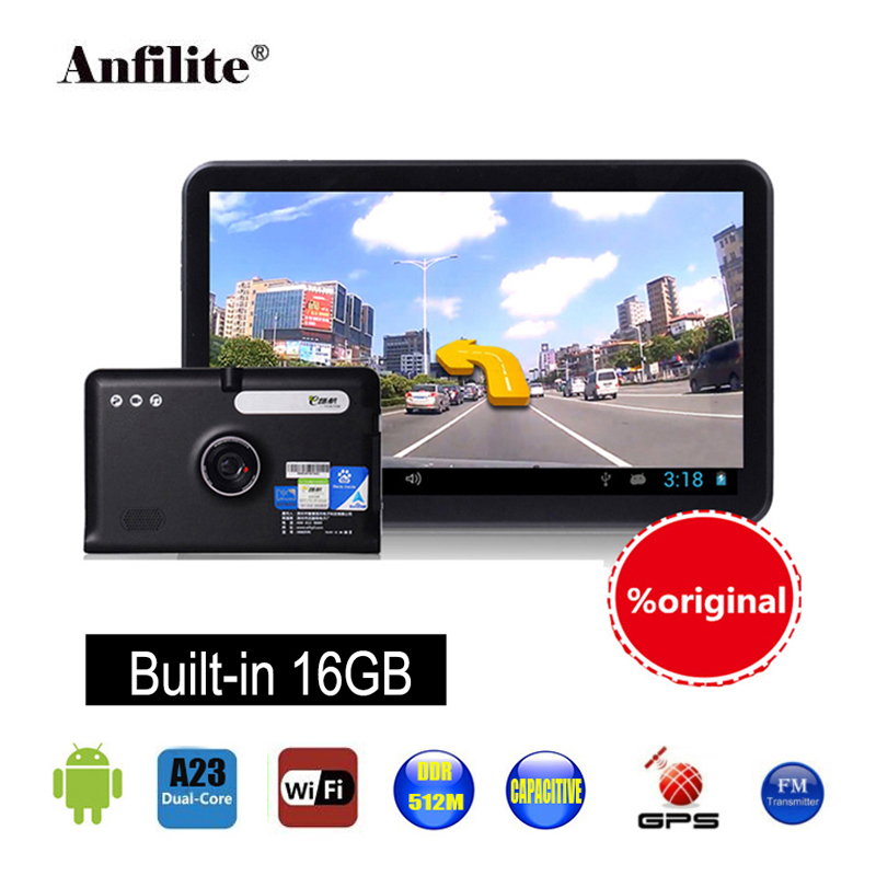 Anfilite Free shipping 7 inch Car DVR with truck GPS Navigation ROM 16GB DDR 512MB Android