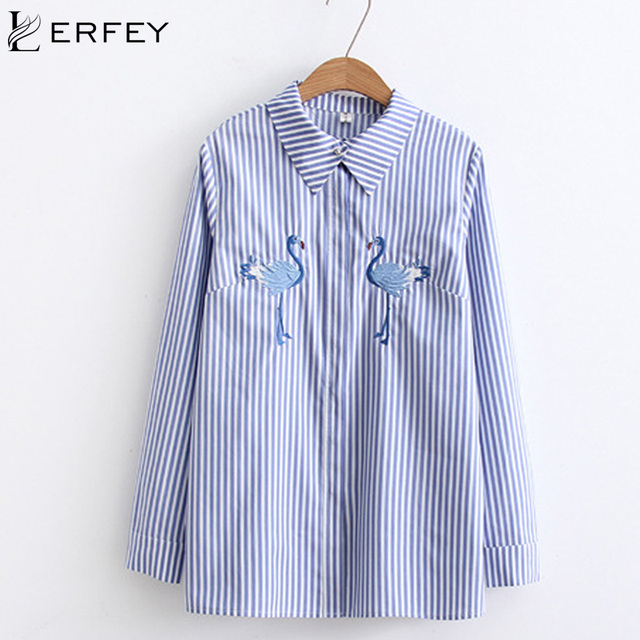 ffe420e0 LERFEY Women Floral Embroidery Blouse Shirts White Long Sleeve Spring  Autumn Blouses Blue Striped Shirt Casual