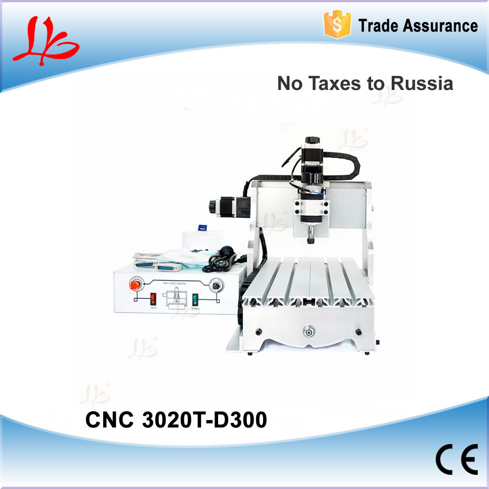 No tax! Mini cnc router 3020 T-D 300W spindle, with aluminum clamp plate as gift , cnc engraving machine no tax mini desktop cnc milling engraving machine cnc 3020z d300 with ball screw and 300w spindle