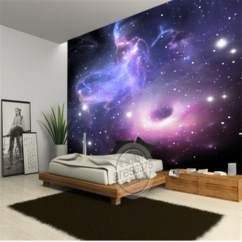Ktv bar large mural wallpaper universe stars galaxy for Ceiling mural in a smoker s lounge
