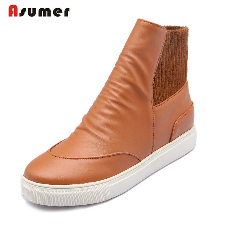 3c23d8e3d704ff ASUMER Grande taille 34-43 mode femmes chaussures bout rond appartements  cheville bottes solide couleurs simple style automne hiver bottes