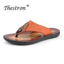 Hot Sale 2019 Male Beach Slippers Brand Summer Flat Flip Flops Men  Brown Gold Pu Leather Indoor Shower
