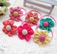 Korean Style Children Hair Accessories Sun Flower With Dot Button Baby Hair Band Girls Hairwear Kids