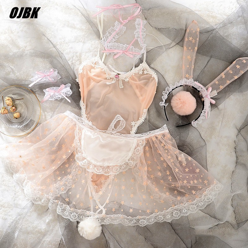 Cute Print Lace Women Rabbit Bunny Maid Cosplay Costume Party Sexy Erotic Lingerie Outfit Fancy Live Show Jumpsuit Babydoll