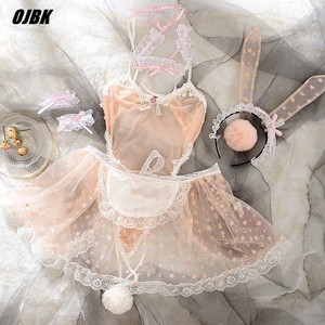 Image 1 - Sevimli baskı dantel kadınlar tavşan tavşan hizmetçi Cosplay kostüm partisi seksi erotik iç çamaşırı kıyafet fantezi canlı gösteri tulum Babydoll