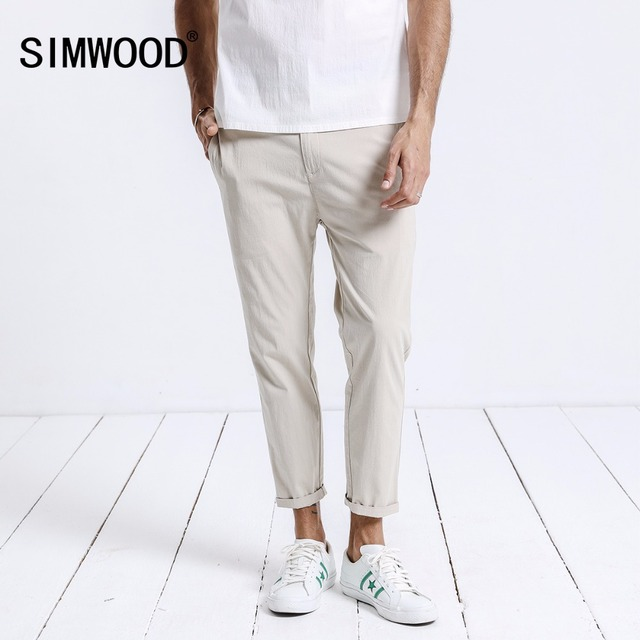 4d2b14dca9f9e SIMWOOD 2018 Summer New Ankle- Length Pants Men Lightweight Slim Fit Casual  Trousers Thin Bottoms Brand Clothing 180226