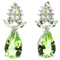 Elegant Drop Green Tsavorite Garnet, White CZ SheCrown Created Woman's Party  Silver Stud Earrings 18x8mm