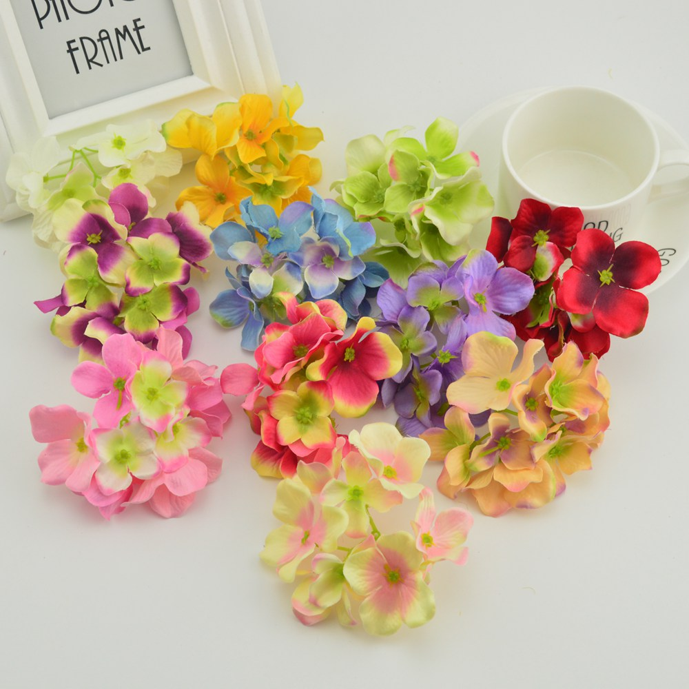 10pcs Silk Hydrangea Door Lintel Artificial Flowers For Needlework