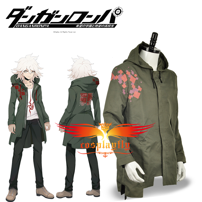 In Stock Super Danganronpa 2 Nagito Komaeda Nagito Army Green Color Jacket Hoodies ONLY Cosplay Costume Custom with Real Pockets kleider weit