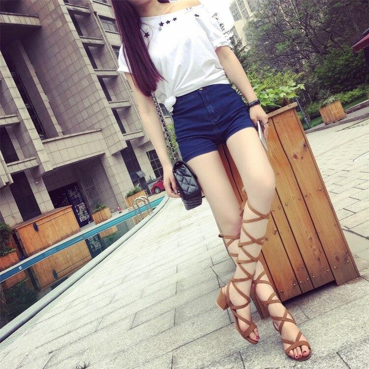 1 Chaussure Moda De Zapatos Nueva Femme Gladiador Rodilla 201 2 Cruzadas Cuero Tongs Verano Correas Mujer Alta qw4InAZ