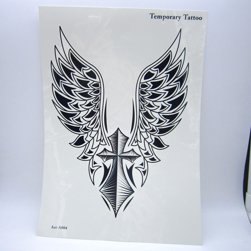 1pcs Big Cool Mens Cross Wing Tattoos,Beautiful Arm Back Cross Wings Waterproof Large Temporary Tattoo Stickers For Men 30*21cm 5