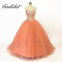 Unique 2019 Pageant Coral Quinceanera Dresses 15 years Sweetheart Sparkling Beads Party Ball Gown Prom Dress vestidos de 15 anos