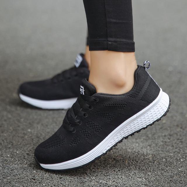 0a794a469ca Bjakin vrouwen Sneakers voor Dames Lace-Up Sport Schoenen Beginner Rubber  Mesh Trainers Ronde Kruis
