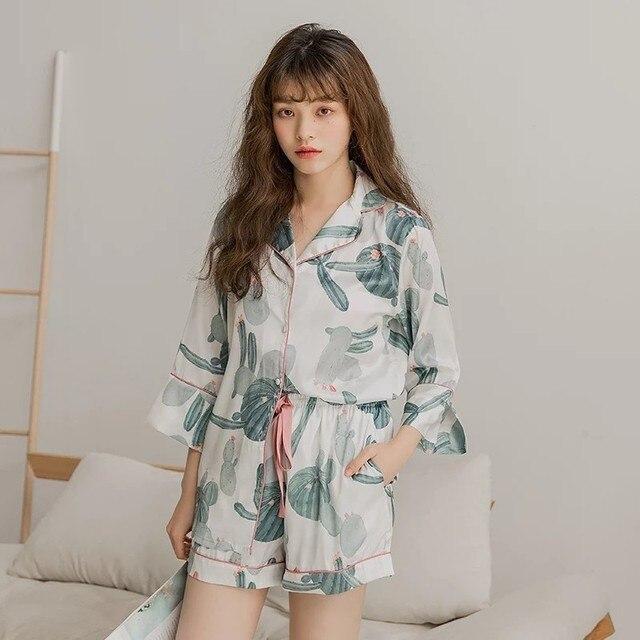 bbb45366b89e 2018 Fashion Korea Summer NewBotany Cactus Silver Fox Pajamas Lapel Home  Furnishing Serve Lingerie Pyjamas Women Lady Nightwear