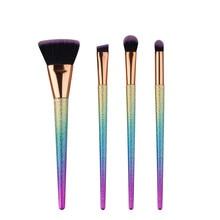 4Pcs Diamond Shape Makeup Brush Set Powder Blusher Eyeshadow Eyeliner Eyebrow Lip Brush Rainbow Golden Cosmetic tool Kits