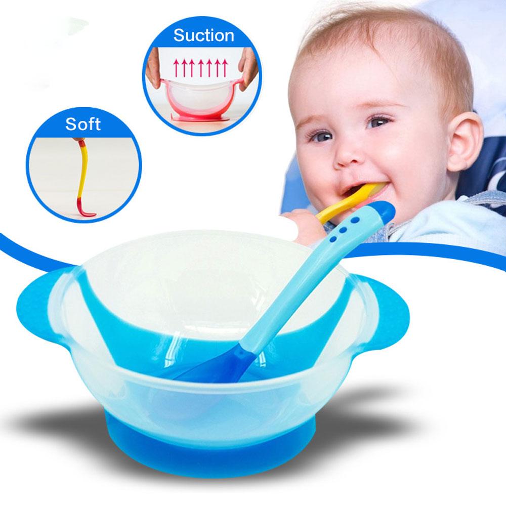 Sensing Temperature Toddlers Plate for Children Tableware Kids Soup Round Sucker Bowl Plates Bowls Plastic Spoon Fork Dinnerware
