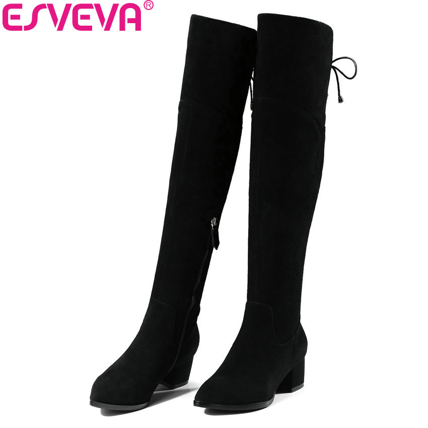 ESVEVA 2018 Women Boots Warm Fur Over The Knee Boots Chunky Cow Suede+PU Ladies Square High Heels Boots for Women Size 34-39 esveva 2018 women boots square high heels boots pu cow leather short plush pointed toe knee high boots ladies boots size 34 42