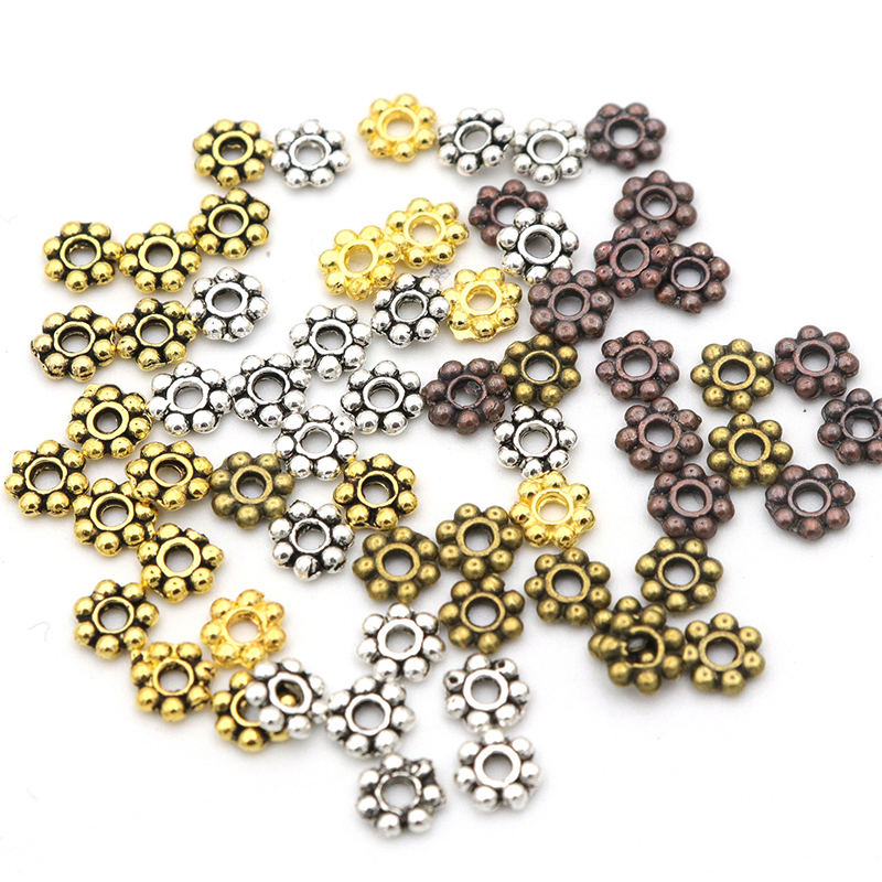 1000 pièces 4mm tibétain or SilverColor Daisy roue fleur breloque entretoise en vrac perles en métal pour la fabrication de bijoux accessoires daiguille