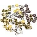 1000 шт., 4 мм, тибетское золото, серебряное серебро, подвеска в виде цветка ромашки, свободная вставка, металлические бусины для изготовления ю...
