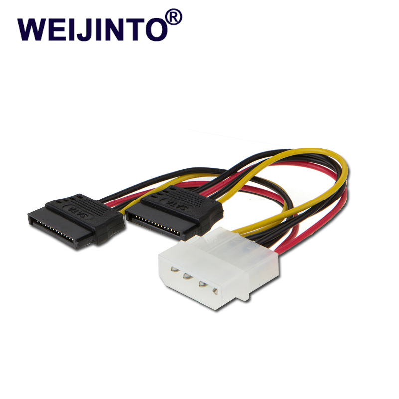 WEIJINTO SATA Power Cable Splitter Molex 4pin to Serial ATA 15pin x 2 Male Female Y Hard Drive Cables 15CM цена
