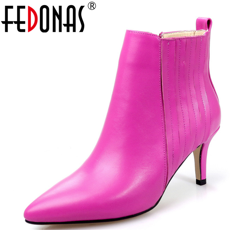 FEDONAS New Women Genuine Leather High Heels Ankle Boots Autumn Winter Sexy Pointed Toe Female Single