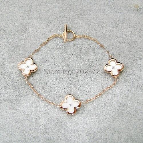 Top OL black white Four leaf clover Bracelet with Austria Crysta, 18k  XY62