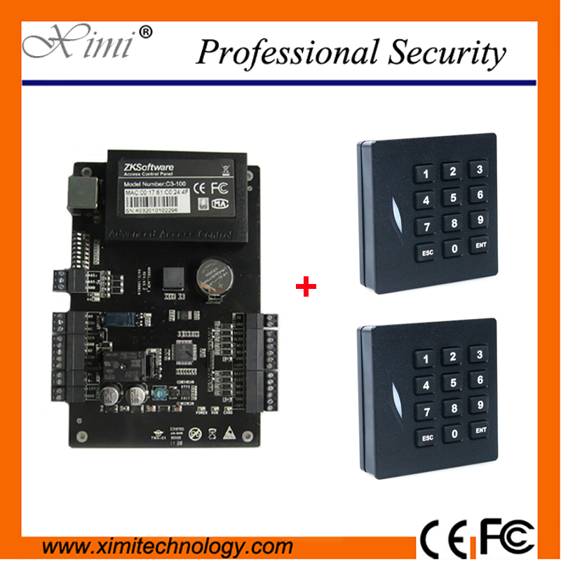 TCP/IP Linux System One Door Access Controller With 2pcs RFID Smart Card Reader ZK C3-100 Access Control Panel zk iface701 face and rfid card time attendance tcp ip linux system biometric facial door access controller system with battery