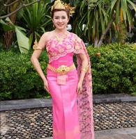 Thailand Laos Unique clothing Thai Dai traditional shoulder sleeveless veil with straight slit pink blossom Minority costume