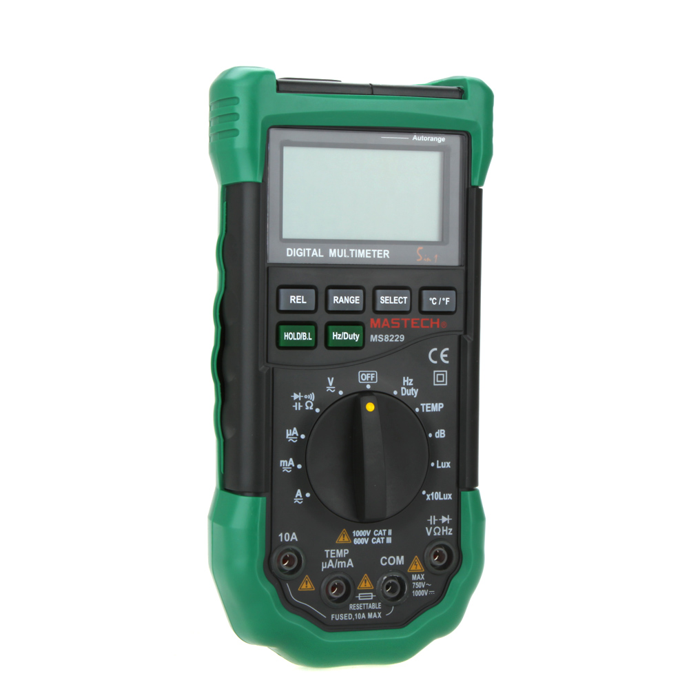 Digital Multimeter 5 in 1 Noise Illumination Temperature Humidity Tester Diagnostic-tool Auto Range LCD Backlight 3 in 1 lcd digital multimeter green 9v 1 x 6f22
