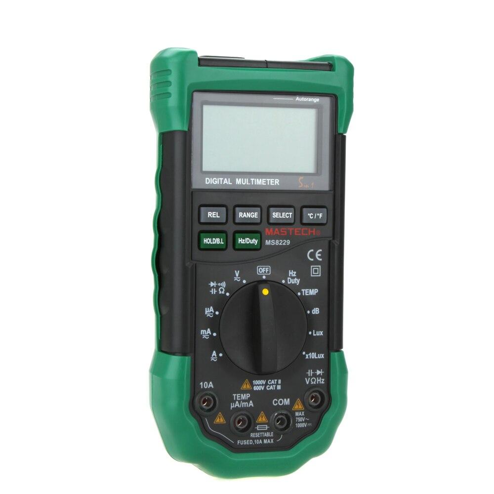 Multímetro Digital 5 em 1 Ruído Iluminação Temperatura Umidade Tester ferramenta de Diagnóstico-Gama Auto LCD Backlight
