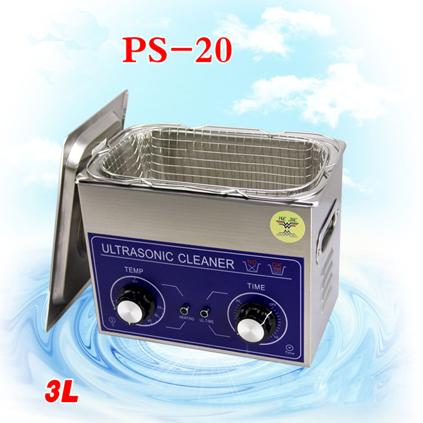 1PC PS-20 AC110/220v 120W heater&timer Ultrasonic cleaner 3L 40KHZ for electronic components ,Dentures cleaning machine 110v 220v aoyue9050 ultrasonic cleaner cleaning machine for cleaning electronic accessories