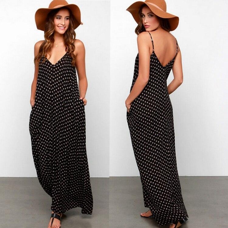 2019 Fashion Women Polka Dot Print V Neck Sleeveless Sundress Loose Maxi Long Beach Bohemian Vintage Dress S To 5XL Summer Dress