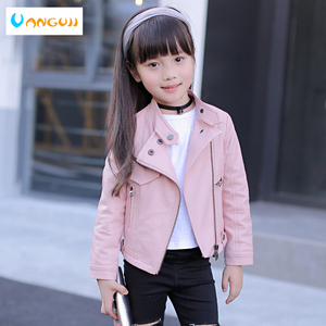 Image 1 - girls pu jacket rivet zipper cool jacket Leather clothing for girls 5 13 years oldClassic collar zipper leather motorcycle