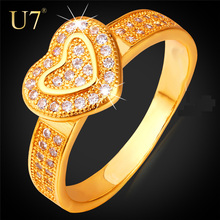 U7 Luxury Heart Engagement Rings For Women Jewelry Classic Gold Color Cubic Zirconia Wedding Bands Rings For Love R391