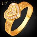 U7 do coração anéis de noivado para as mulheres de jóias de luxo clássico banhado a ouro alianças de casamento anéis cúbicos de zircônia para o amor r391