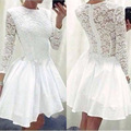 Sexy egalant Womens Dress Lace Long Sleeve Causal Bodycon Party Mini Dress o-neck top sale super quality vestido curto #yl