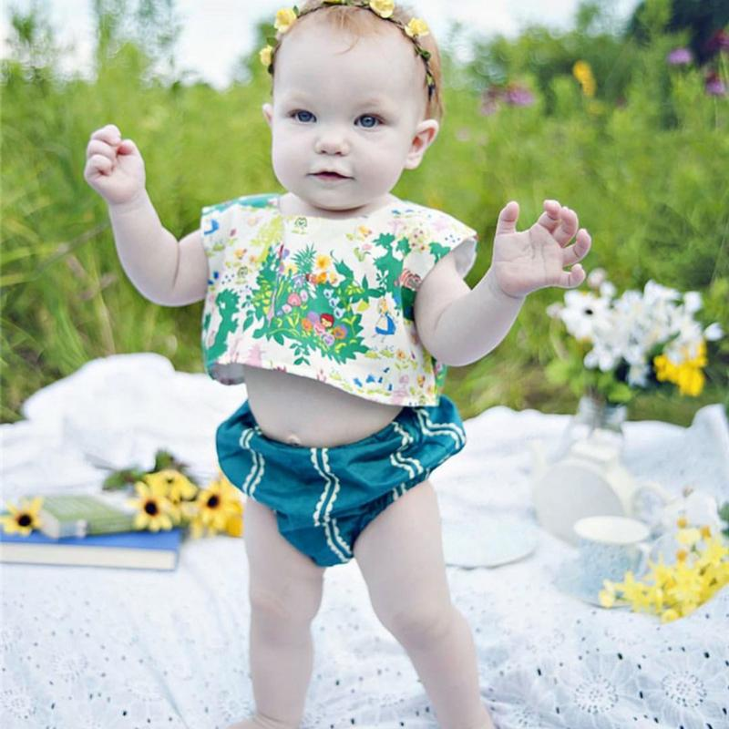 2pcs Newborn Fashion Clothes Baby Girls Floral Printed Sleeveless Short T-Shirts + Briefs Outfits Infant Clothing Set