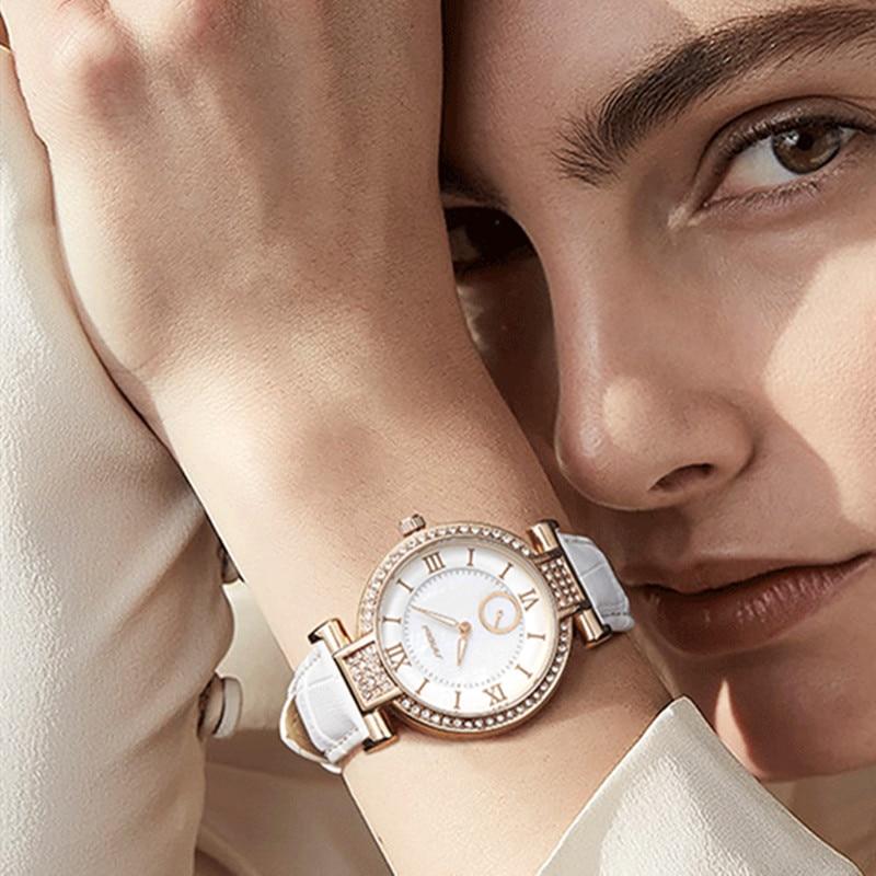SINOBI Fashion Women Watches Top Brand Luxury Diamonds Leather Strap Rose Gold Ladies Bracelet Quartz Watch Dress Wristwatch Hot