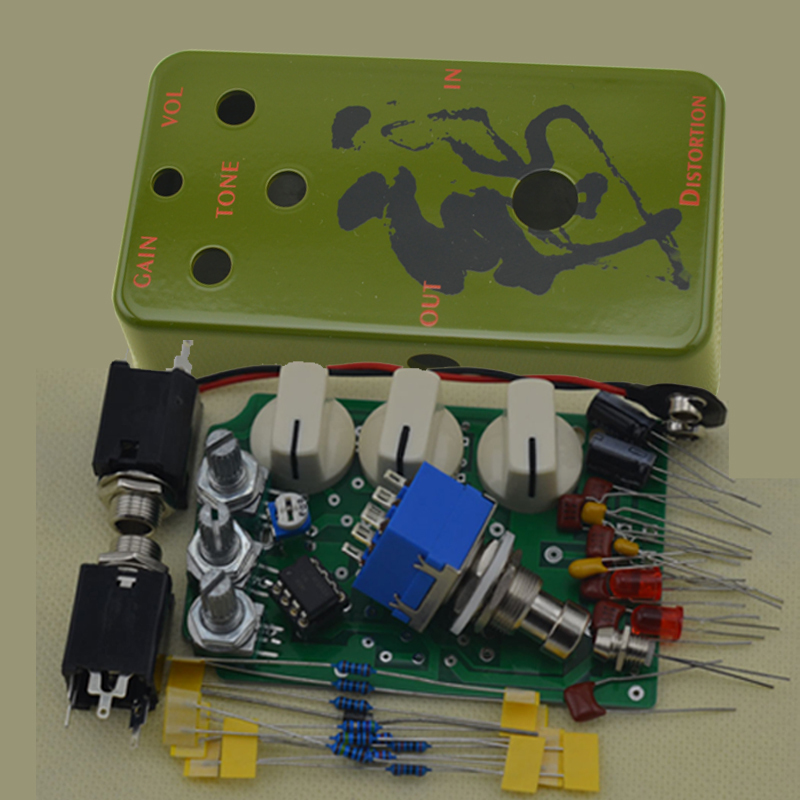 DIY Distortion Effect pedal All Kits With 1590B And 9PIN 3PDT Foot Switch True Bypass NO1 mooer ensemble queen bass chorus effect pedal mini guitar effects true bypass with free connector and footswitch topper