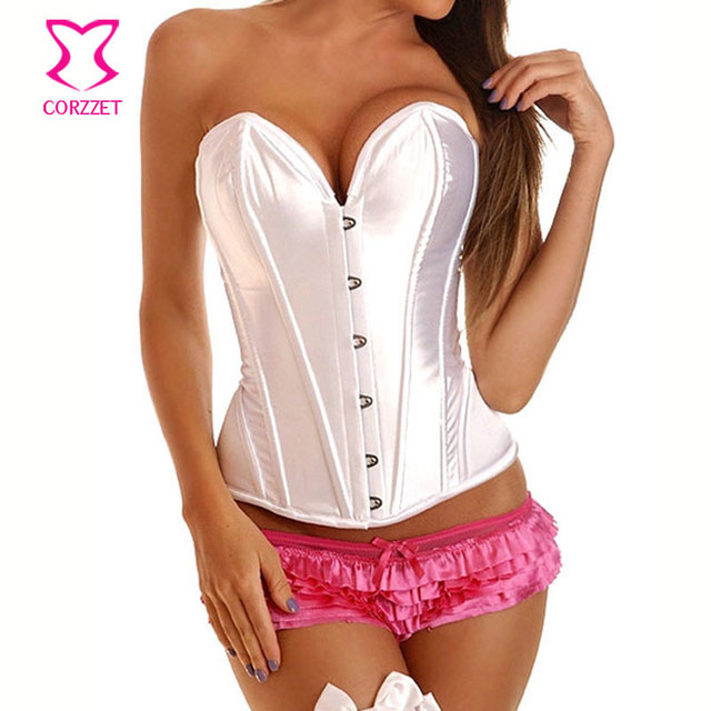 Corzzet Wedding Ovebust White Corsets And Bustiers Sexy Lingerie Satin&Lace Up Plus Size Women Gothic Body Shaperwear