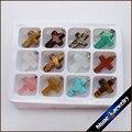 Comercio al por mayor 12 unids 18x25x5mm Mix Cruz Crucifijo Colgantes Collar de Cuentas de Piedra Naturales en Caja de Muestras Joyería apta Que Hace-HSY08