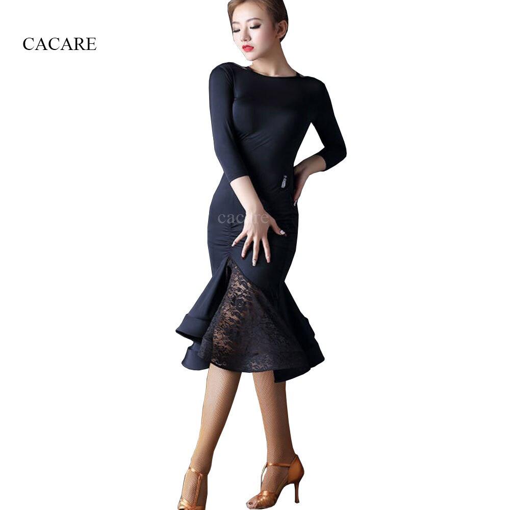 Latin Dance Dress Women Flapper Dress Salsa Tango Dress Samba D0034 Patchwork with Lace Ruffled Hem Backless tango patchwork 333 pw333 68 код2060