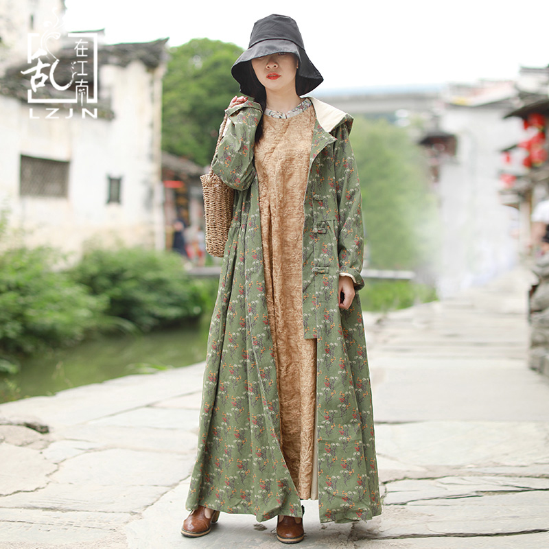 LZJN Long   Trench   Coat for Women 2019 Autumn Hooded Cardigan Green Windbreaker Single Breasted Floral Duster Coat Spring Overcoat