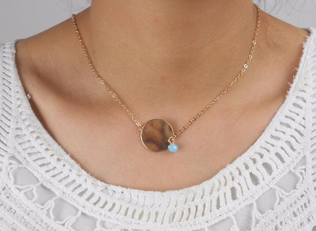 Kc gold round necklace small pendant necklace dainty necklace kc gold round necklace small pendant necklace dainty necklace simple disc pendant necklace aloadofball Image collections