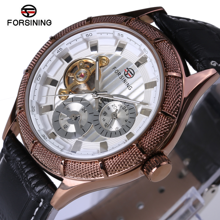 Forsining Men WatchesTop Brand Luxury 2017 New Design Tourbillon Clock Rose Gold Watch Automatic Wristwatch Mechanical Watch forsining automatic men s watch luxury brand militry wristwatch mechanical watch arabic numerals dial gold cuff chain band clock