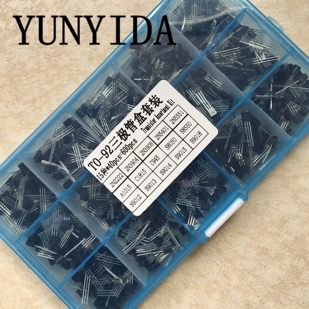 Clearance SaleTransistor Assortment-Box-Kit 2N3904 S8550 2N2222 15-Value C945 S9013 9018 40pcs TO-92
