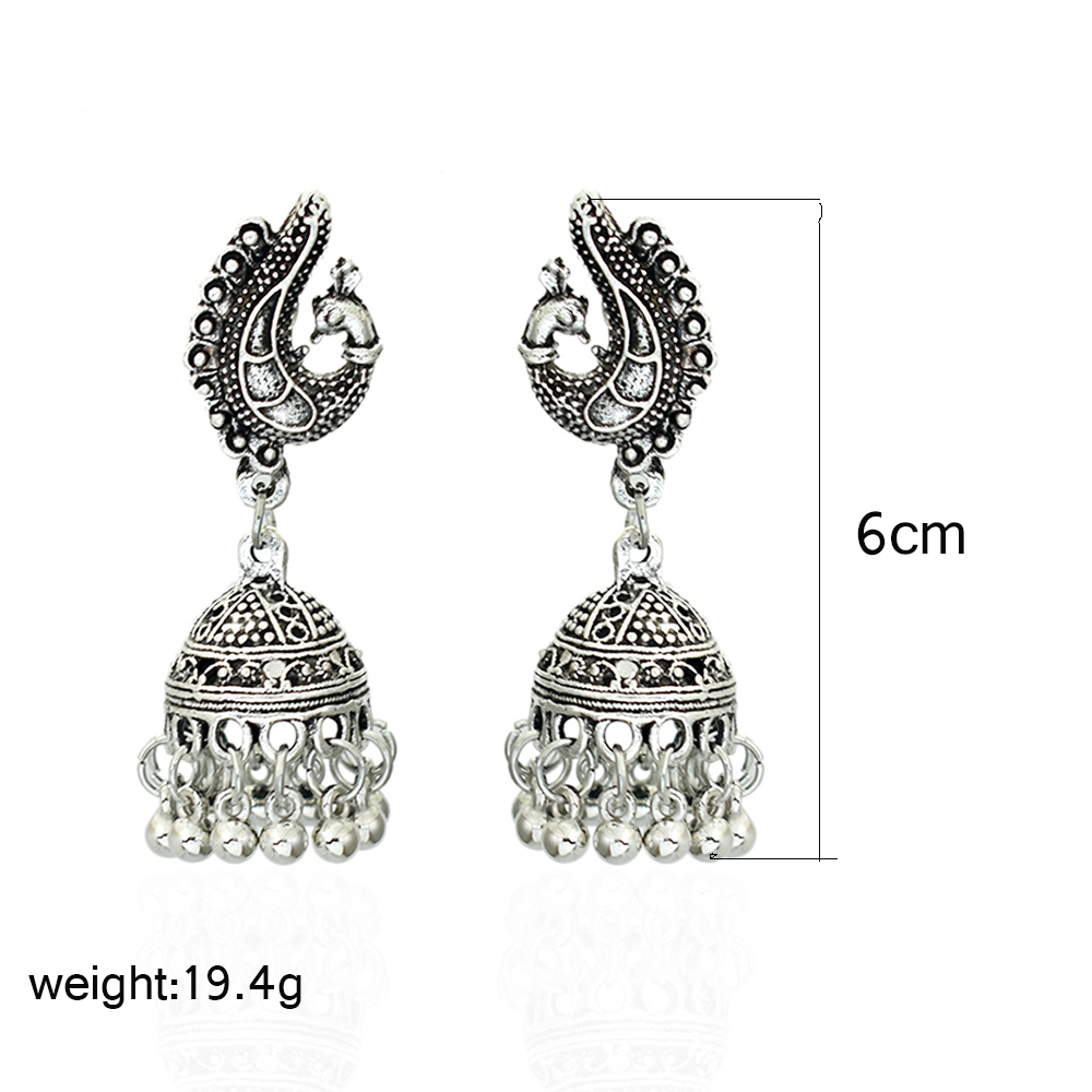 Bing Tu Bohemia Jewelry Retro Bell Beaded Tassel Earrings Tibetan Silver Round Hanging Pendant Earring Indian Earing Jhumka Furniture